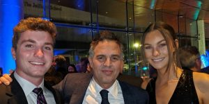 Son Tony and his girlfriend meet actor Mark Ruffalo, center.